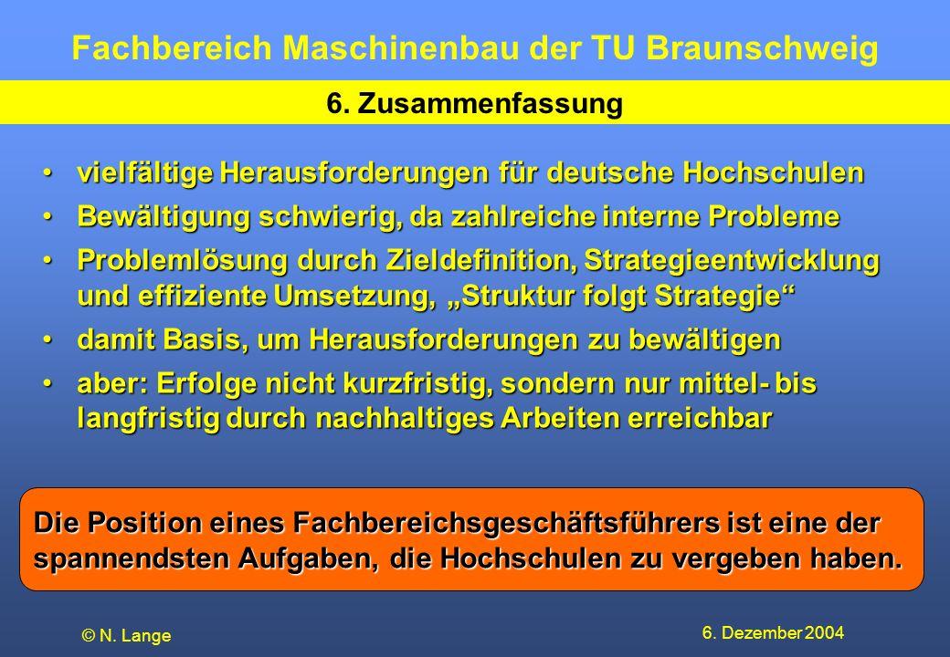 Fachbereich Maschinenbau der TU Braunschweig 6. Dezember 2004 © N. Lange 6. Zusammenfassung vielfältige Herausforderungen für deutsche Hochschulenviel