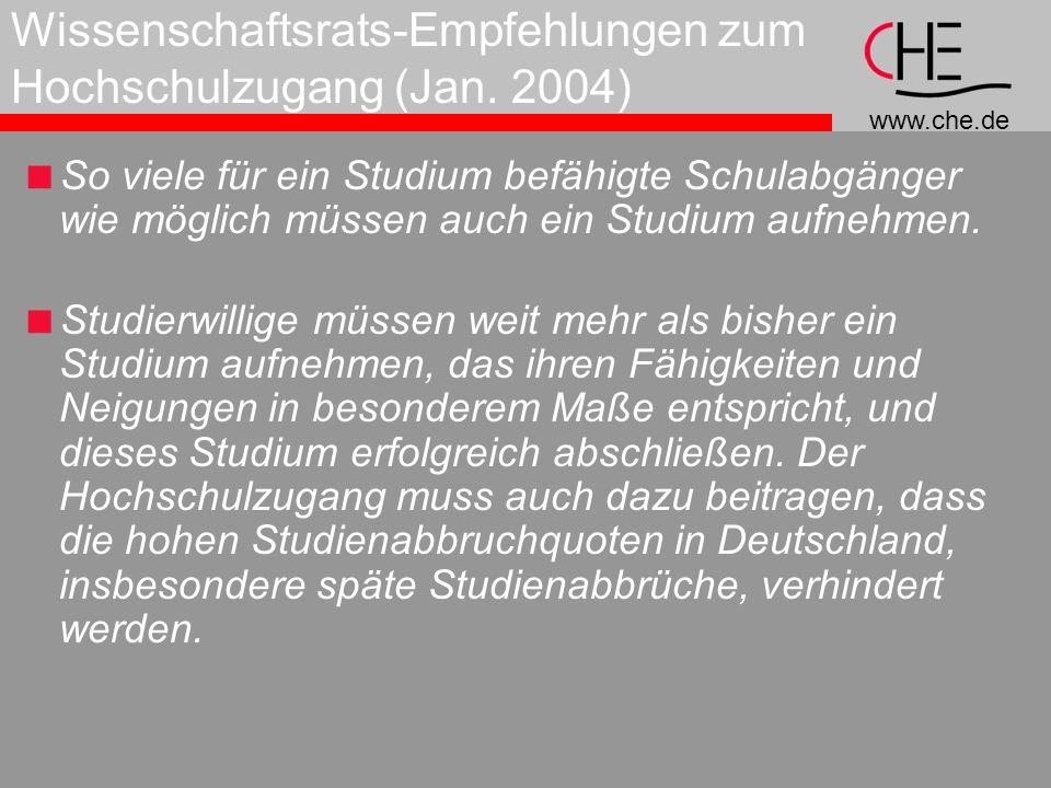 www.che.de Wissenschaftsrats-Empfehlungen zum Hochschulzugang (Jan.