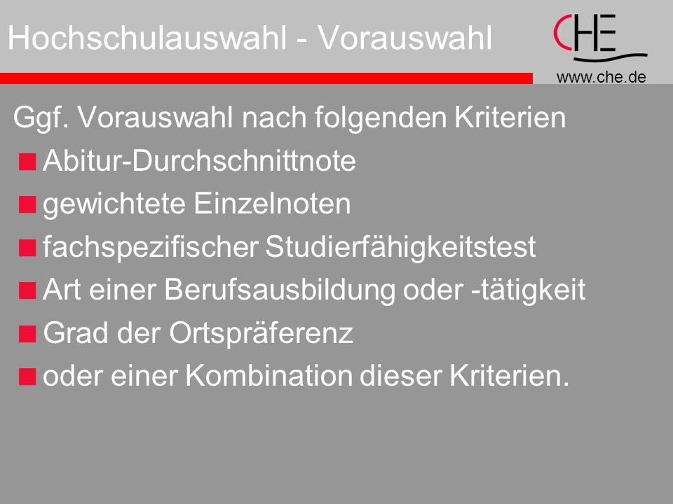 www.che.de Hochschulauswahl - Vorauswahl Ggf.