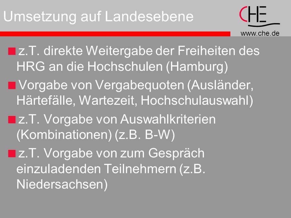 www.che.de Umsetzung auf Landesebene z.T.