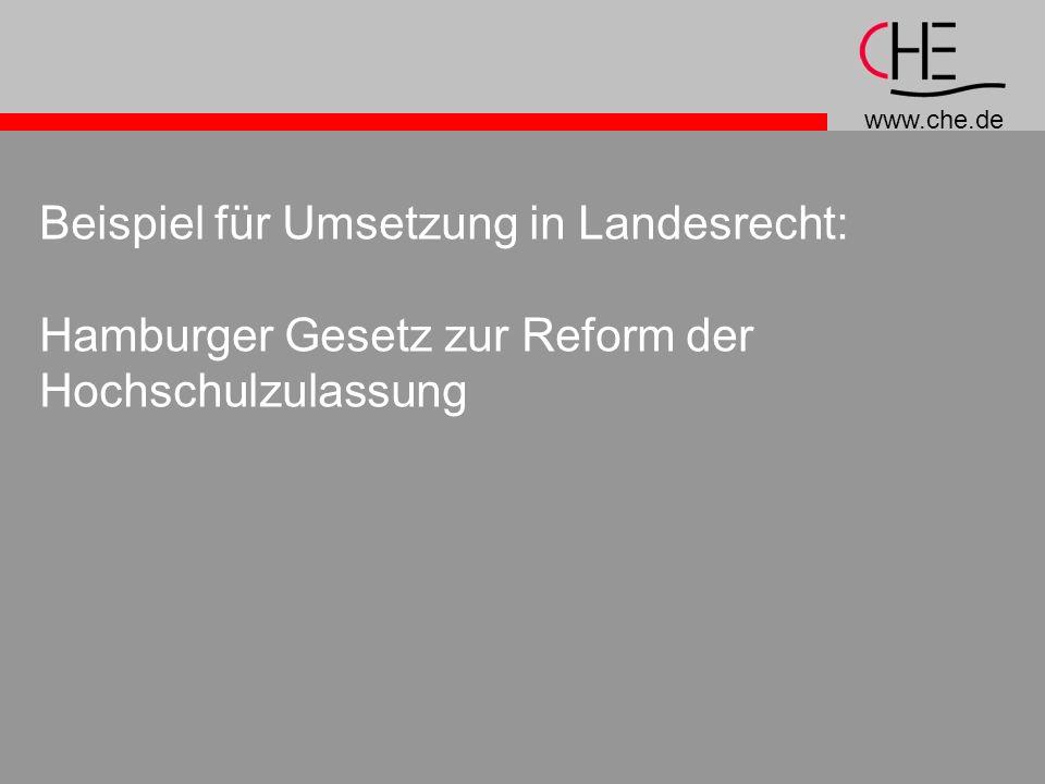 www.che.de Beispiel für Umsetzung in Landesrecht: Hamburger Gesetz zur Reform der Hochschulzulassung