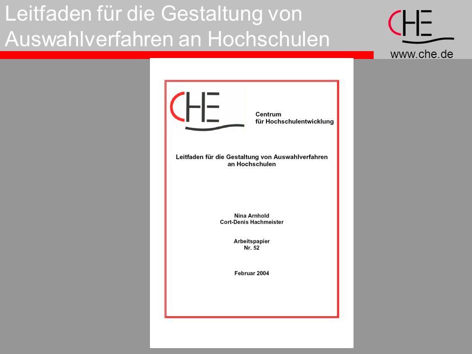 www.che.de Leitfaden für die Gestaltung von Auswahlverfahren an Hochschulen