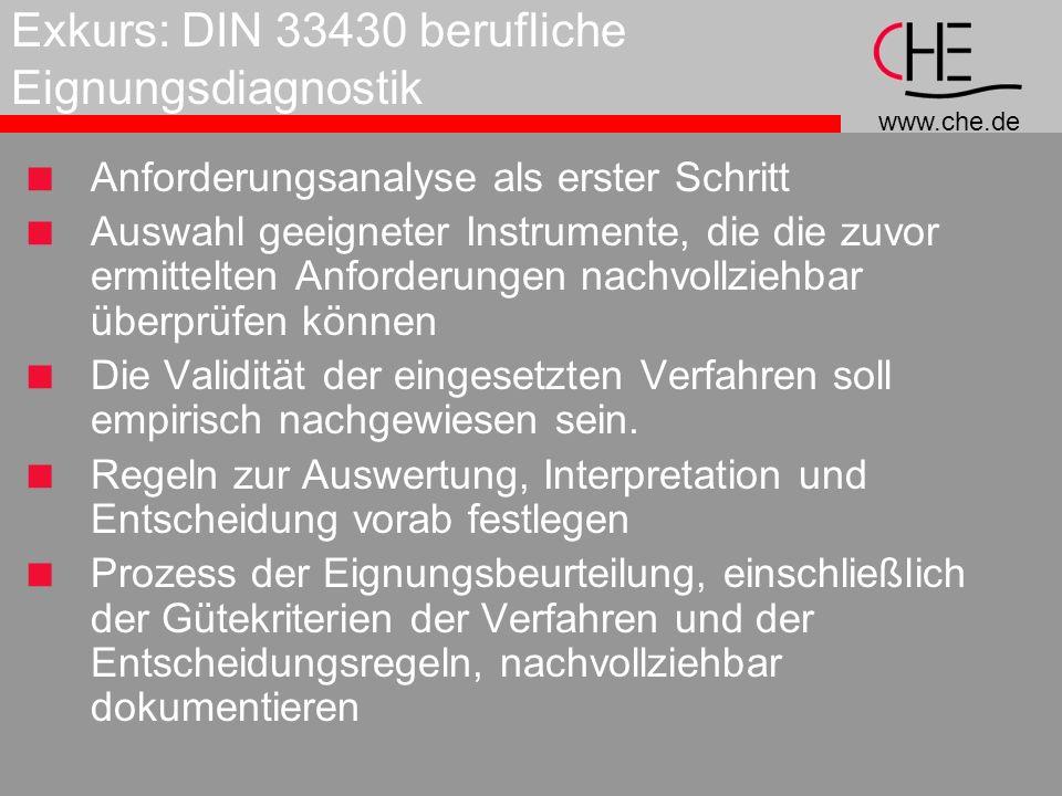 www.che.de Exkurs: DIN 33430 berufliche Eignungsdiagnostik Anforderungsanalyse als erster Schritt Auswahl geeigneter Instrumente, die die zuvor ermittelten Anforderungen nachvollziehbar überprüfen können Die Validität der eingesetzten Verfahren soll empirisch nachgewiesen sein.
