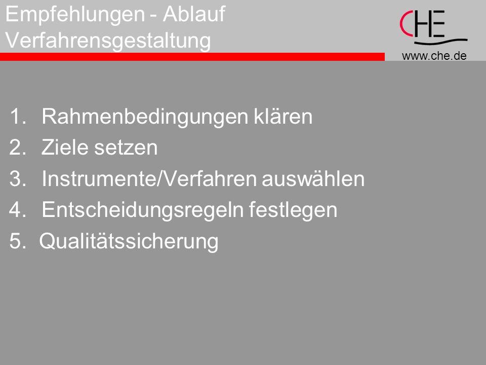 www.che.de Empfehlungen - Ablauf Verfahrensgestaltung 1.Rahmenbedingungen klären 2.Ziele setzen 3.Instrumente/Verfahren auswählen 4.Entscheidungsregeln festlegen 5.
