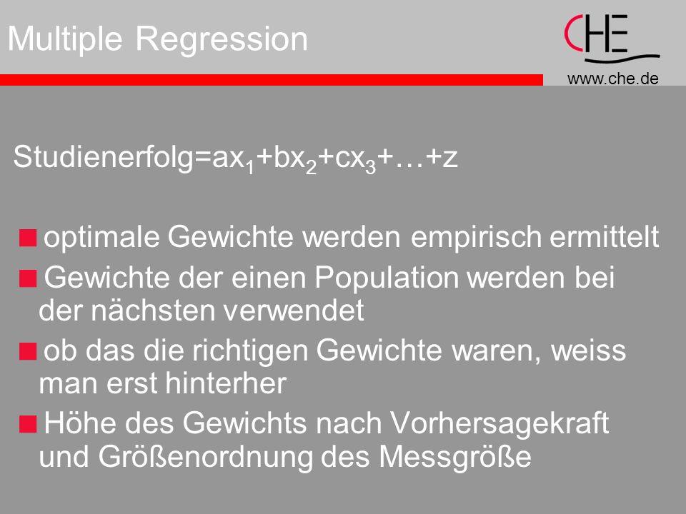 www.che.de Multiple Regression Studienerfolg=ax 1 +bx 2 +cx 3 +…+z optimale Gewichte werden empirisch ermittelt Gewichte der einen Population werden bei der nächsten verwendet ob das die richtigen Gewichte waren, weiss man erst hinterher Höhe des Gewichts nach Vorhersagekraft und Größenordnung des Messgröße