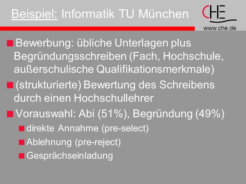 www.che.de Beispiel: Informatik TU München Bewerbung: übliche Unterlagen plus Begründungsschreiben (Fach, Hochschule, außerschulische Qualifikationsmerkmale) (strukturierte) Bewertung des Schreibens durch einen Hochschullehrer Vorauswahl: Abi (51%), Begründung (49%) direkte Annahme (pre-select) Ablehnung (pre-reject) Gesprächseinladung