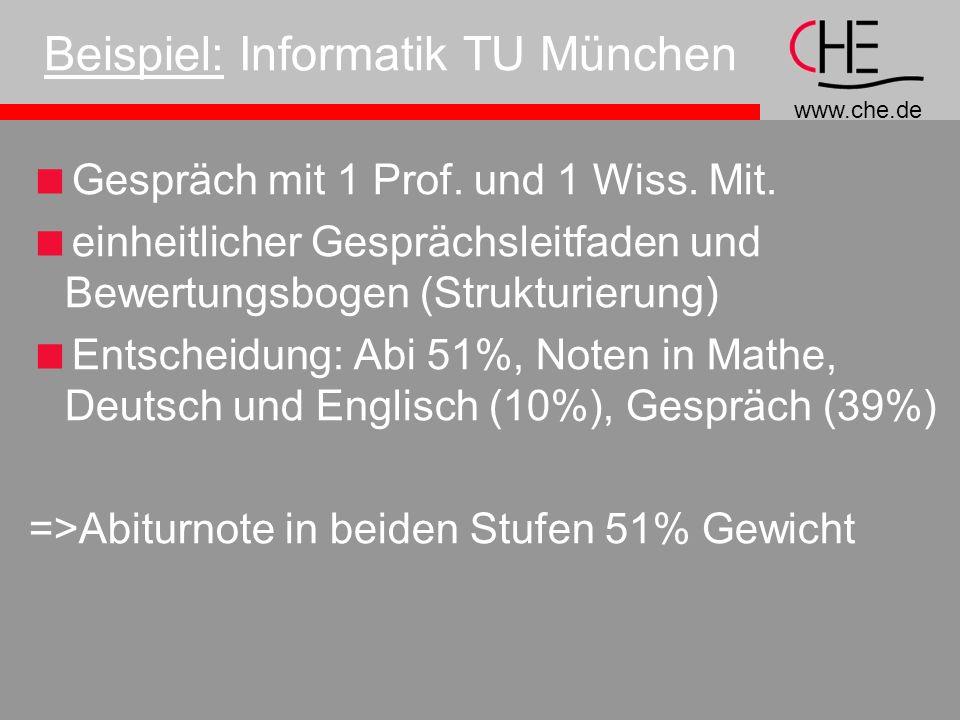 www.che.de Beispiel: Informatik TU München Gespräch mit 1 Prof.