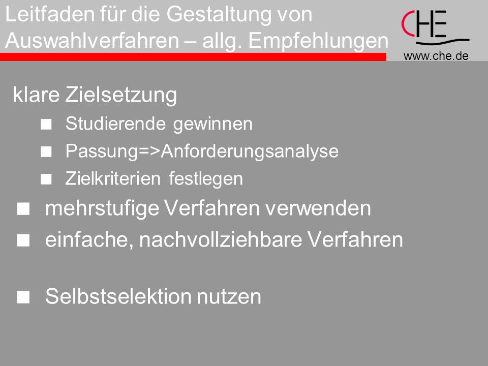 www.che.de Leitfaden für die Gestaltung von Auswahlverfahren – allg.