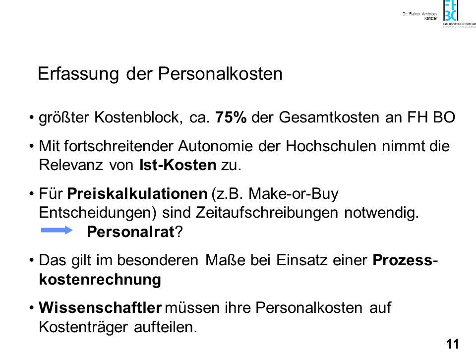 Dr. Rainer Ambrosy Kanzler 11 Erfassung der Personalkosten größter Kostenblock, ca. 75% der Gesamtkosten an FH BO Mit fortschreitender Autonomie der H