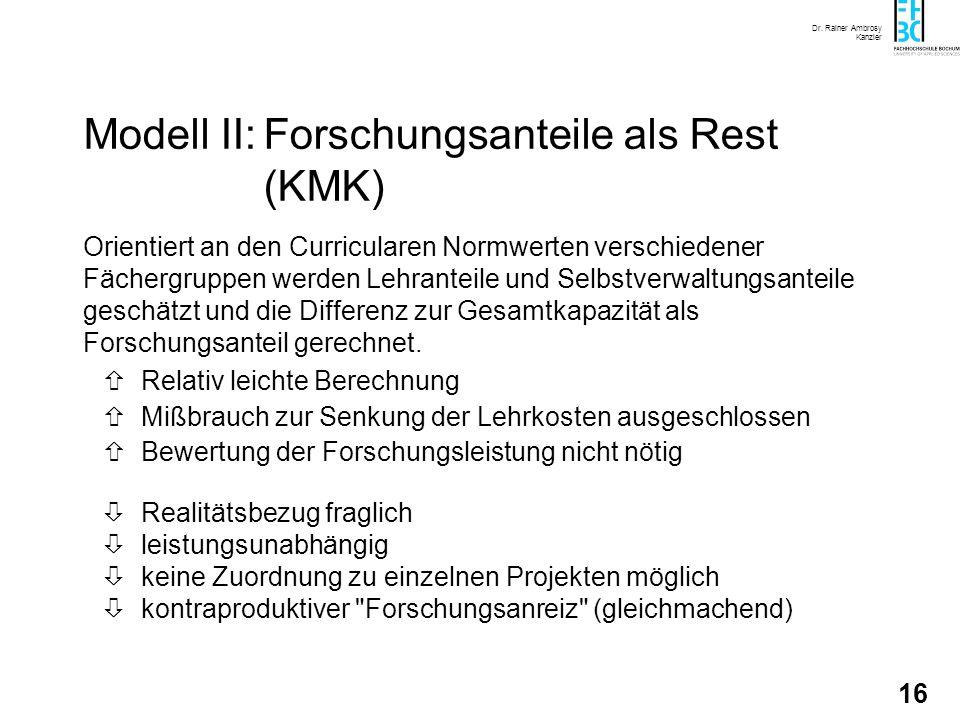 Dr. Rainer Ambrosy Kanzler 16 Modell II:Forschungsanteile als Rest (KMK) Orientiert an den Curricularen Normwerten verschiedener Fächergruppen werden