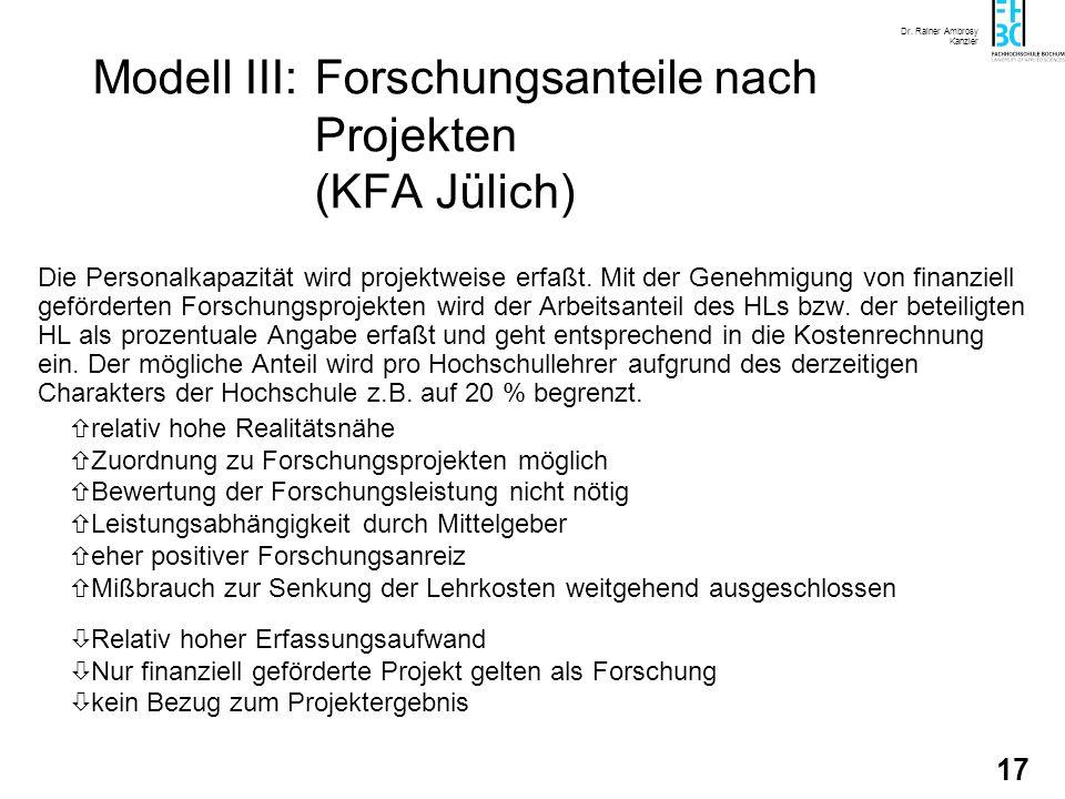 Dr. Rainer Ambrosy Kanzler 17 Modell III:Forschungsanteile nach Projekten (KFA Jülich) Die Personalkapazität wird projektweise erfaßt. Mit der Genehmi