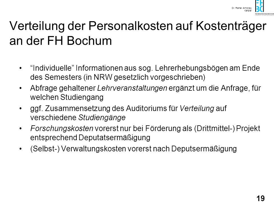 Dr. Rainer Ambrosy Kanzler 19 Verteilung der Personalkosten auf Kostenträger an der FH Bochum Individuelle Informationen aus sog. Lehrerhebungsbögen a