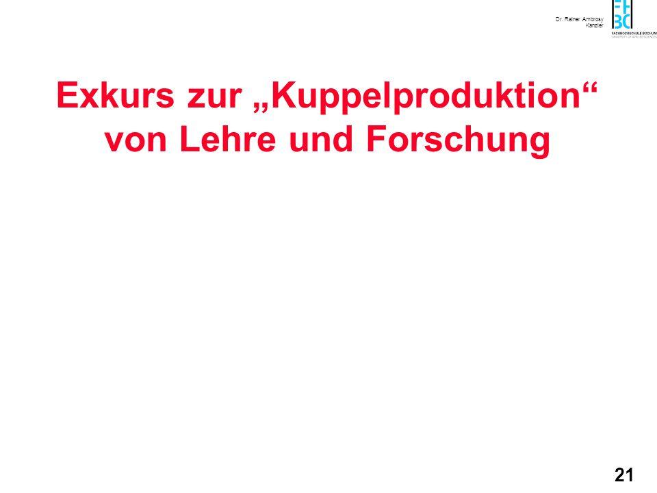 Dr. Rainer Ambrosy Kanzler 21 Exkurs zur Kuppelproduktion von Lehre und Forschung