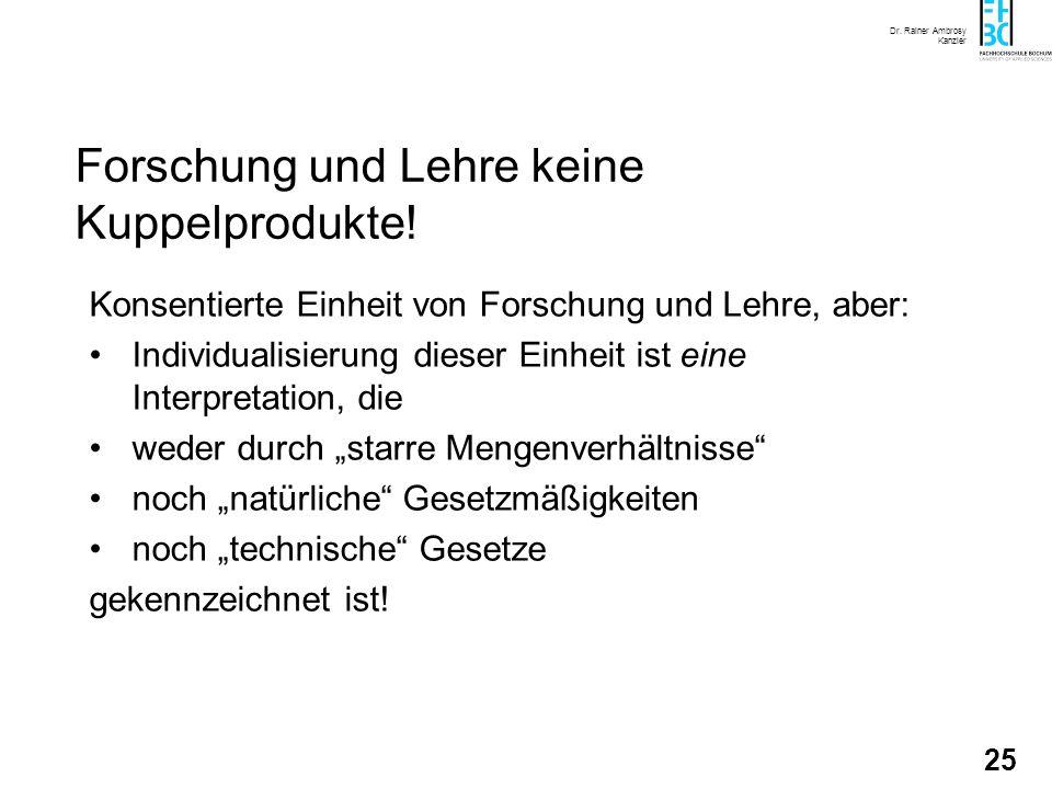 Dr. Rainer Ambrosy Kanzler 25 Forschung und Lehre keine Kuppelprodukte! Konsentierte Einheit von Forschung und Lehre, aber: Individualisierung dieser