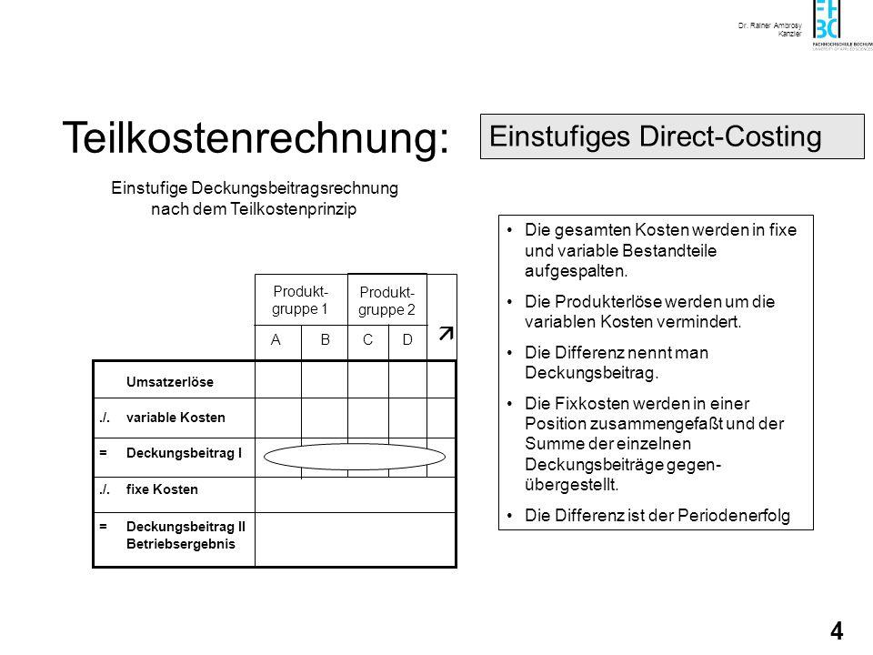 Dr. Rainer Ambrosy Kanzler 4 Teilkostenrechnung: Die gesamten Kosten werden in fixe und variable Bestandteile aufgespalten. Die Produkterlöse werden u