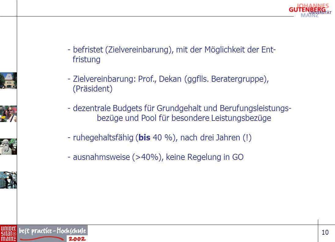 10 - befristet (Zielvereinbarung), mit der Möglichkeit der Ent- fristung - Zielvereinbarung: Prof., Dekan (ggflls. Beratergruppe), (Präsident) - dezen
