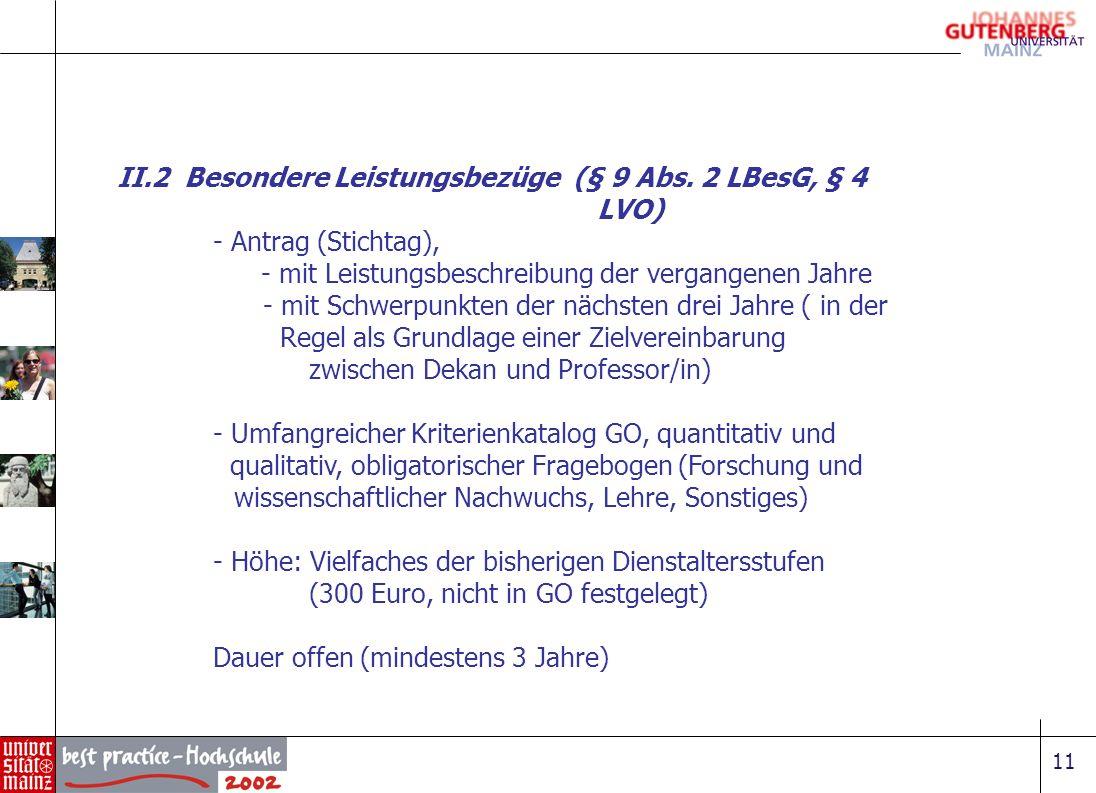 11 II.2 Besondere Leistungsbezüge (§ 9 Abs. 2 LBesG, § 4 LVO) - Antrag (Stichtag), - mit Leistungsbeschreibung der vergangenen Jahre - mit Schwerpunkt