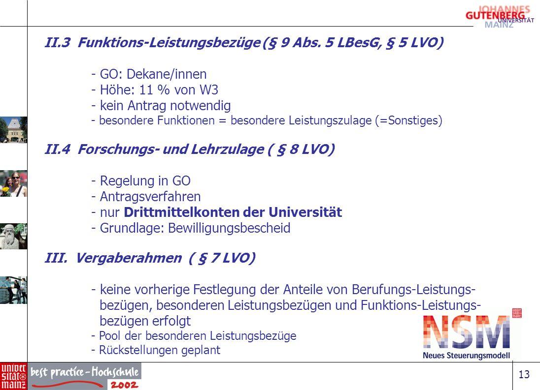 13 II.3 Funktions-Leistungsbezüge (§ 9 Abs. 5 LBesG, § 5 LVO) - GO: Dekane/innen - Höhe: 11 % von W3 - kein Antrag notwendig - besondere Funktionen =