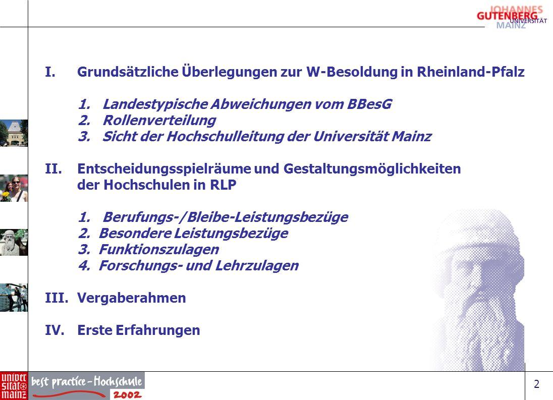2 I.Grundsätzliche Überlegungen zur W-Besoldung in Rheinland-Pfalz 1. Landestypische Abweichungen vom BBesG 2. Rollenverteilung 3. Sicht der Hochschul