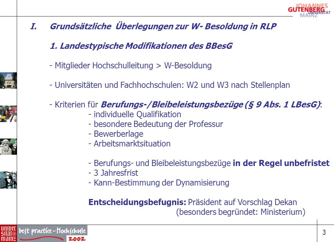 3 I.Grundsätzliche Überlegungen zur W- Besoldung in RLP 1. Landestypische Modifikationen des BBesG - Mitglieder Hochschulleitung > W-Besoldung - Unive