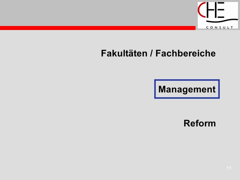 11 Fakultäten / Fachbereiche Reform Management