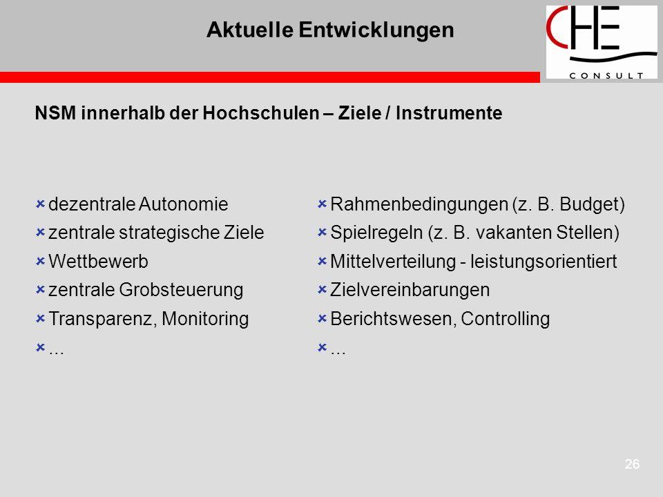 26 Aktuelle Entwicklungen NSM innerhalb der Hochschulen – Ziele / Instrumente dezentrale Autonomie zentrale strategische Ziele Wettbewerb zentrale Grobsteuerung Transparenz, Monitoring...