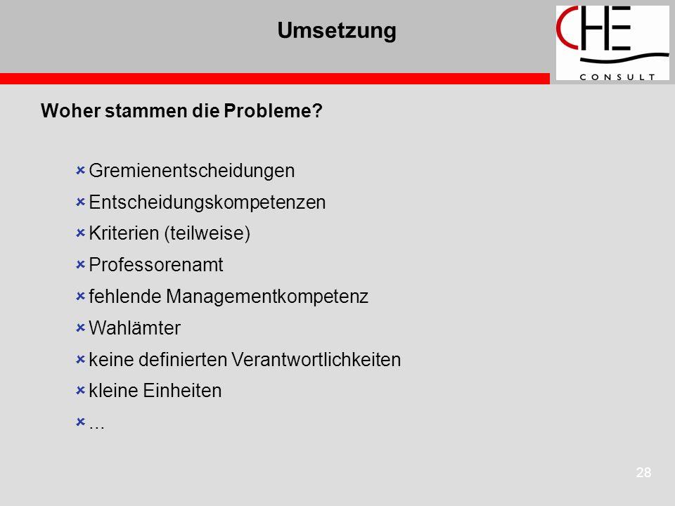28 Umsetzung Woher stammen die Probleme? Gremienentscheidungen Entscheidungskompetenzen Kriterien (teilweise) Professorenamt fehlende Managementkompet