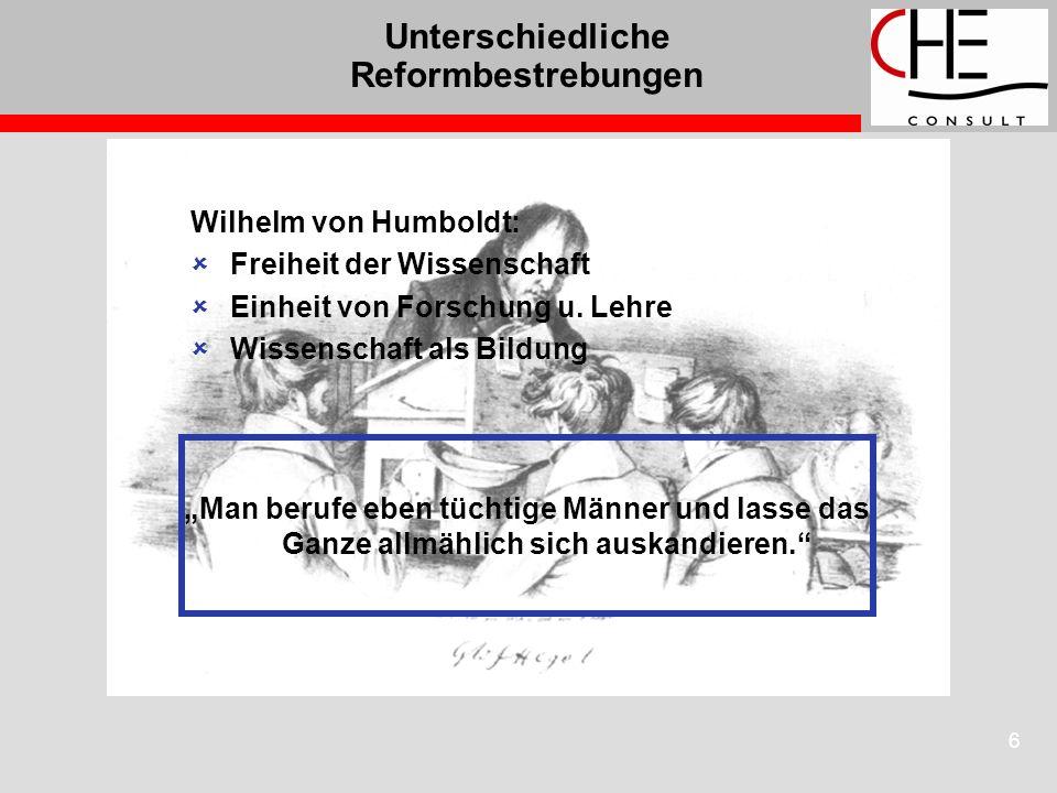 6 Unterschiedliche Reformbestrebungen Wilhelm von Humboldt: Freiheit der Wissenschaft Einheit von Forschung u. Lehre Wissenschaft als Bildung Man beru
