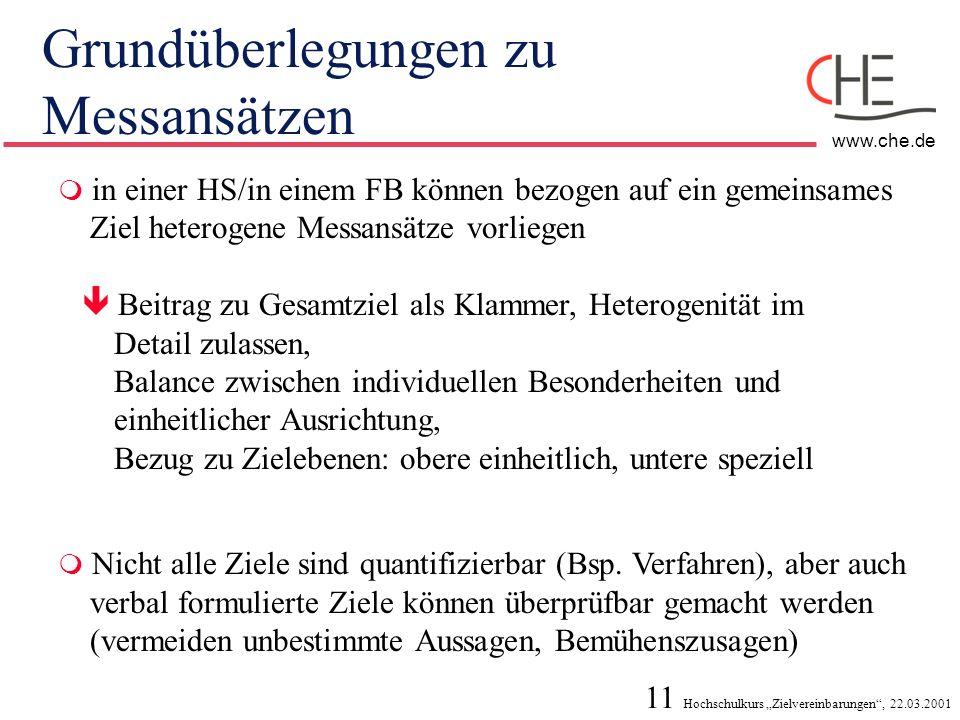 11 Hochschulkurs Zielvereinbarungen, 22.03.2001 www.che.de Grundüberlegungen zu Messansätzen in einer HS/in einem FB können bezogen auf ein gemeinsame