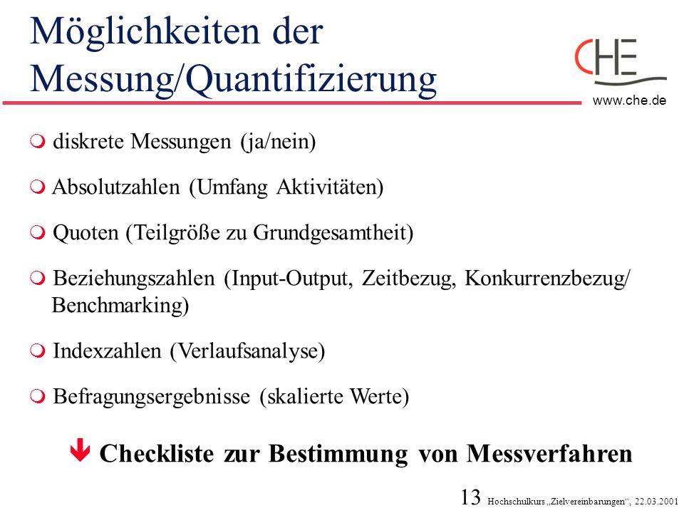 13 Hochschulkurs Zielvereinbarungen, 22.03.2001 www.che.de Möglichkeiten der Messung/Quantifizierung diskrete Messungen (ja/nein) Absolutzahlen (Umfan