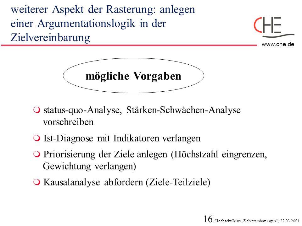 16 Hochschulkurs Zielvereinbarungen, 22.03.2001 www.che.de weiterer Aspekt der Rasterung: anlegen einer Argumentationslogik in der Zielvereinbarung mö