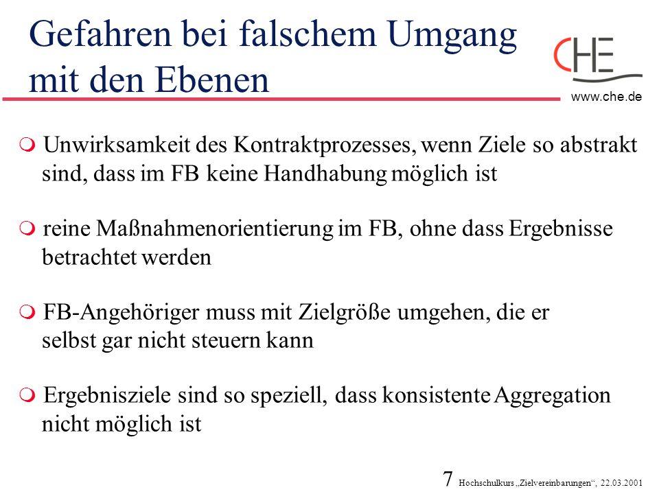 18 Hochschulkurs Zielvereinbarungen, 22.03.2001 www.che.de Was sollte in einer Zielvereinbarung enthalten sein.