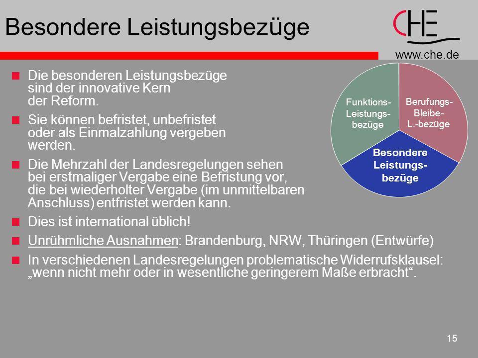 www.che.de 15 Besondere Leistungsbez ü ge Die besonderen Leistungsbezüge sind der innovative Kern der Reform. Sie können befristet, unbefristet oder a