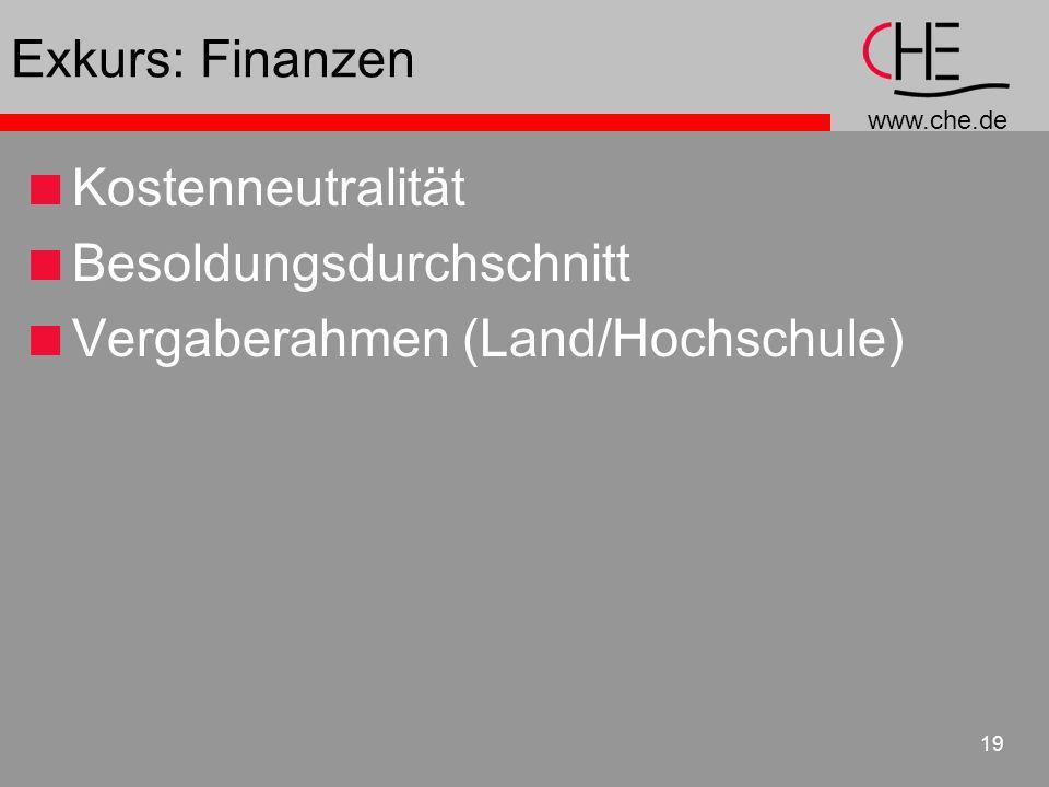 www.che.de 19 Exkurs: Finanzen Kostenneutralität Besoldungsdurchschnitt Vergaberahmen (Land/Hochschule)