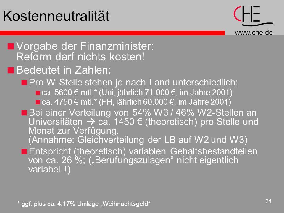 www.che.de 21 Kostenneutralität Vorgabe der Finanzminister: Reform darf nichts kosten! Bedeutet in Zahlen: Pro W-Stelle stehen je nach Land unterschie