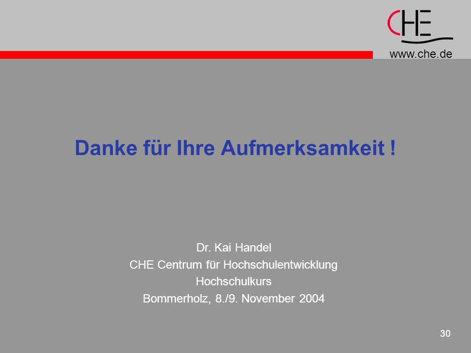 www.che.de 30 Danke für Ihre Aufmerksamkeit ! Dr. Kai Handel CHE Centrum für Hochschulentwicklung Hochschulkurs Bommerholz, 8./9. November 2004