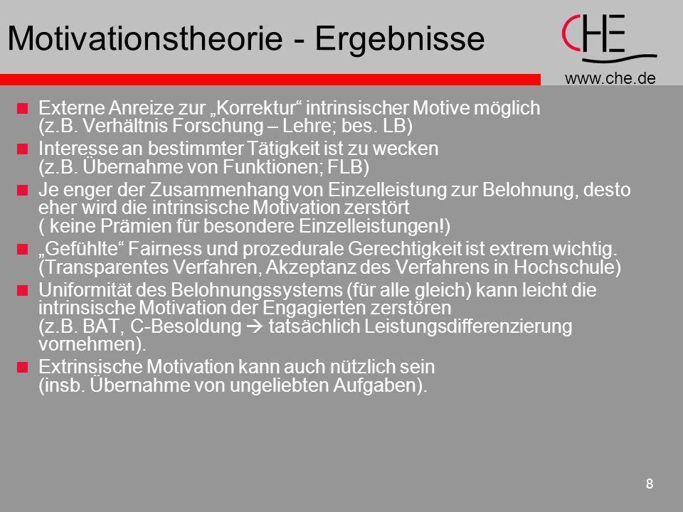 www.che.de 8 Motivationstheorie - Ergebnisse Externe Anreize zur Korrektur intrinsischer Motive möglich (z.B. Verhältnis Forschung – Lehre; bes. LB) I