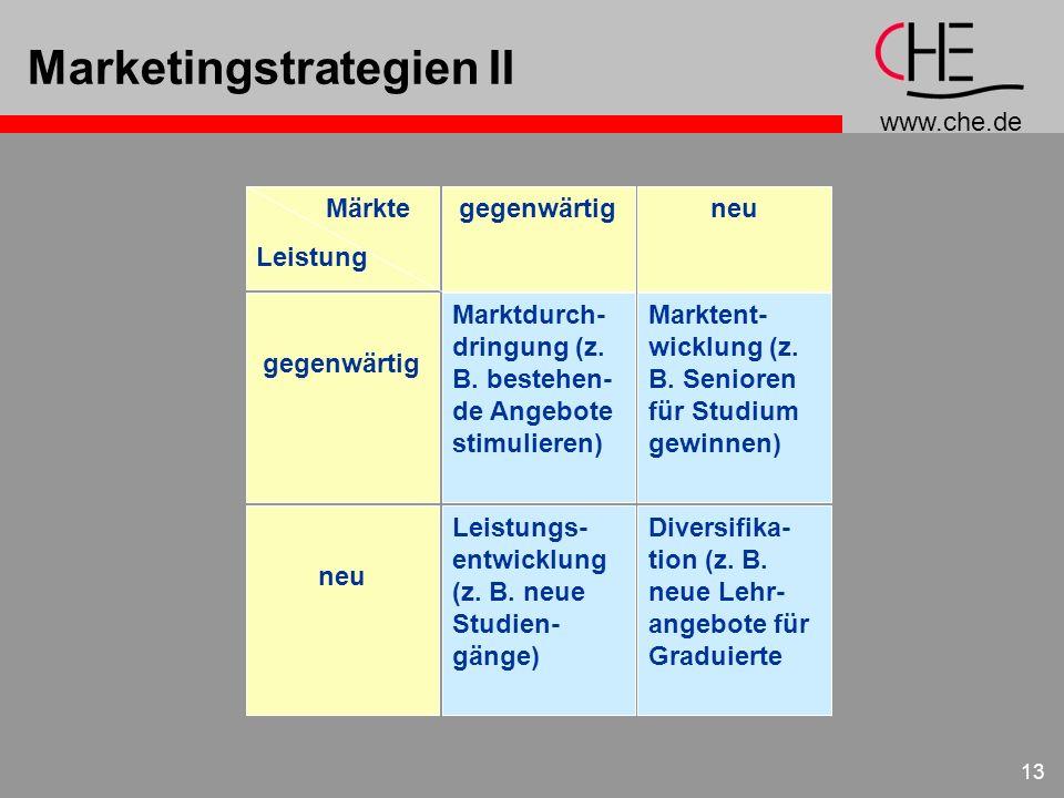 www.che.de 13 Marketingstrategien II Diversifika- tion (z. B. neue Lehr- angebote für Graduierte Leistungs- entwicklung (z. B. neue Studien- gänge) Ma