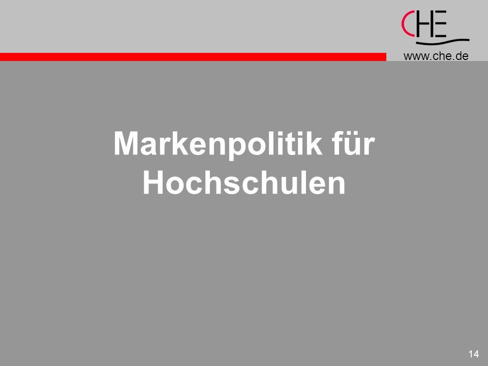 www.che.de 14 Markenpolitik für Hochschulen