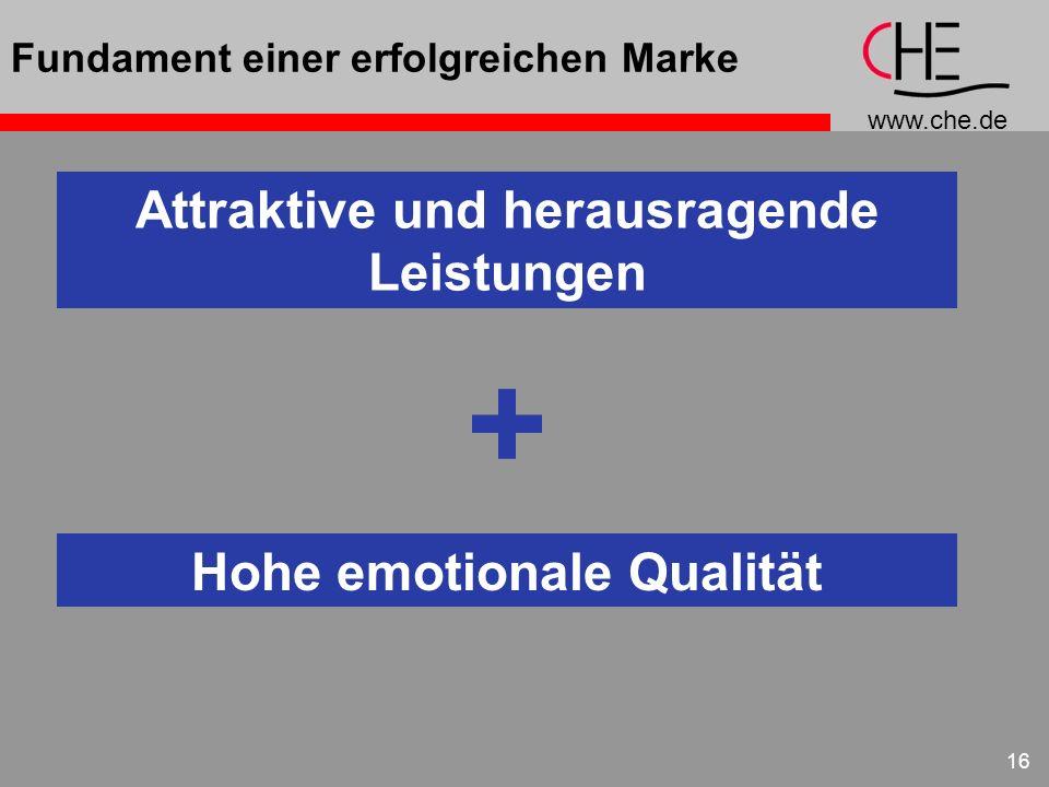 www.che.de 16 Fundament einer erfolgreichen Marke Attraktive und herausragende Leistungen + Hohe emotionale Qualität