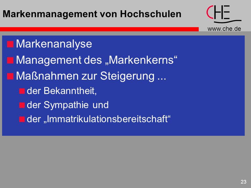 www.che.de 23 Markenmanagement von Hochschulen Markenanalyse Management des Markenkerns Maßnahmen zur Steigerung... der Bekanntheit, der Sympathie und