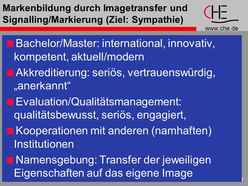www.che.de 27 Markenbildung durch Imagetransfer und Signalling/Markierung (Ziel: Sympathie) Bachelor/Master: international, innovativ, kompetent, aktu