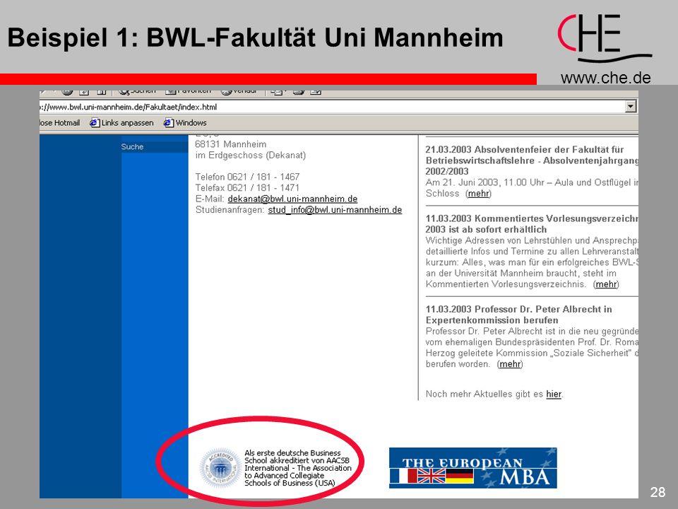 www.che.de 28 Beispiel 1: BWL-Fakultät Uni Mannheim