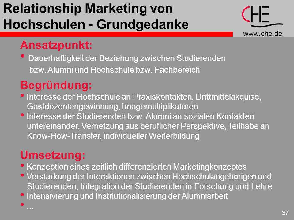 www.che.de 37 Relationship Marketing von Hochschulen - Grundgedanke Ansatzpunkt: Dauerhaftigkeit der Beziehung zwischen Studierenden bzw. Alumni und H
