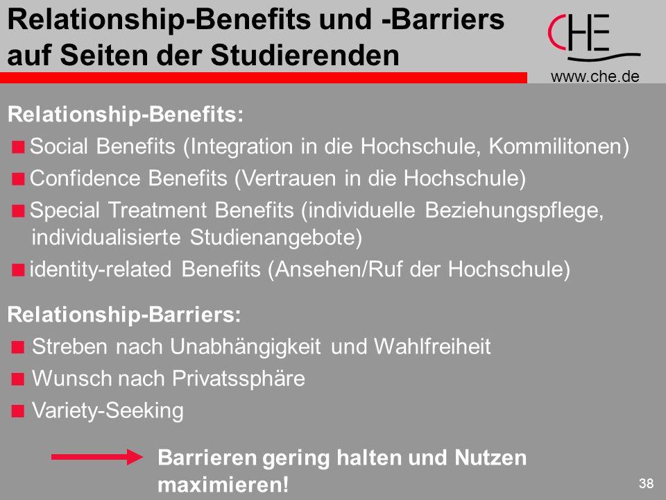 www.che.de 38 Relationship-Benefits und -Barriers auf Seiten der Studierenden Relationship-Barriers: Streben nach Unabhängigkeit und Wahlfreiheit Wuns