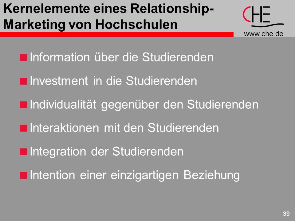 www.che.de 39 Kernelemente eines Relationship- Marketing von Hochschulen Information über die Studierenden Investment in die Studierenden Individualit