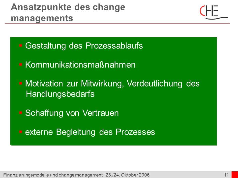 11Finanzierungsmodelle und change management | 23./24. Oktober 2006 Ansatzpunkte des change managements Gestaltung des Prozessablaufs Kommunikationsma