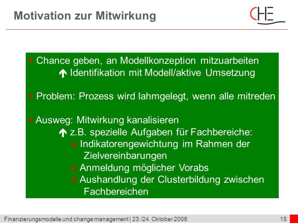 15Finanzierungsmodelle und change management | 23./24. Oktober 2006 Motivation zur Mitwirkung Chance geben, an Modellkonzeption mitzuarbeiten Identifi