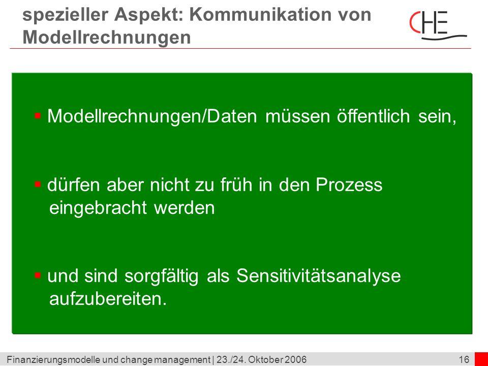 16Finanzierungsmodelle und change management | 23./24. Oktober 2006 spezieller Aspekt: Kommunikation von Modellrechnungen Modellrechnungen/Daten müsse