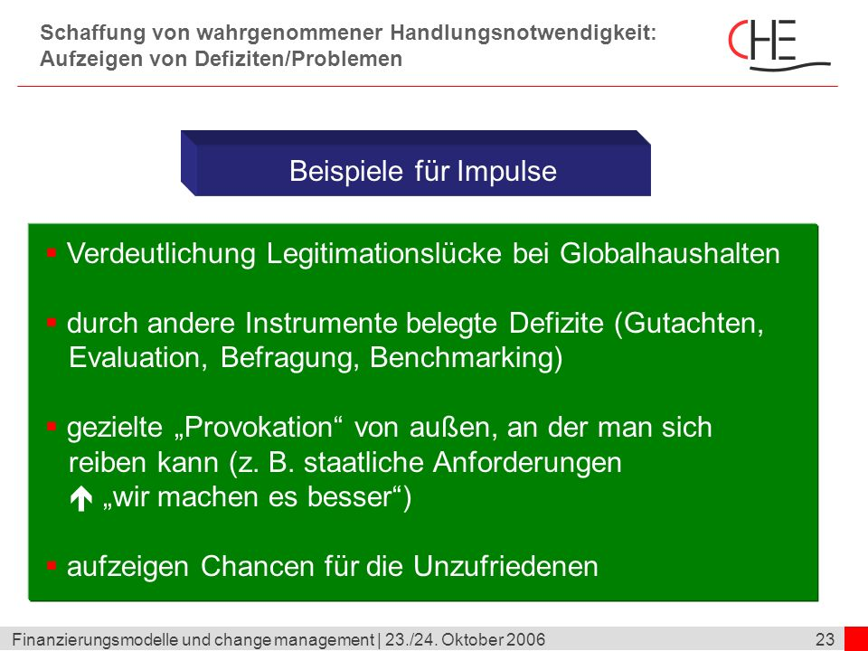23Finanzierungsmodelle und change management | 23./24. Oktober 2006 Schaffung von wahrgenommener Handlungsnotwendigkeit: Aufzeigen von Defiziten/Probl